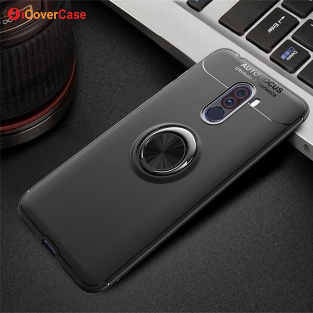best loved 0aa8f 98150 Pocophone F1 Case for Poco F1 silicone edge shockproof with ring ...