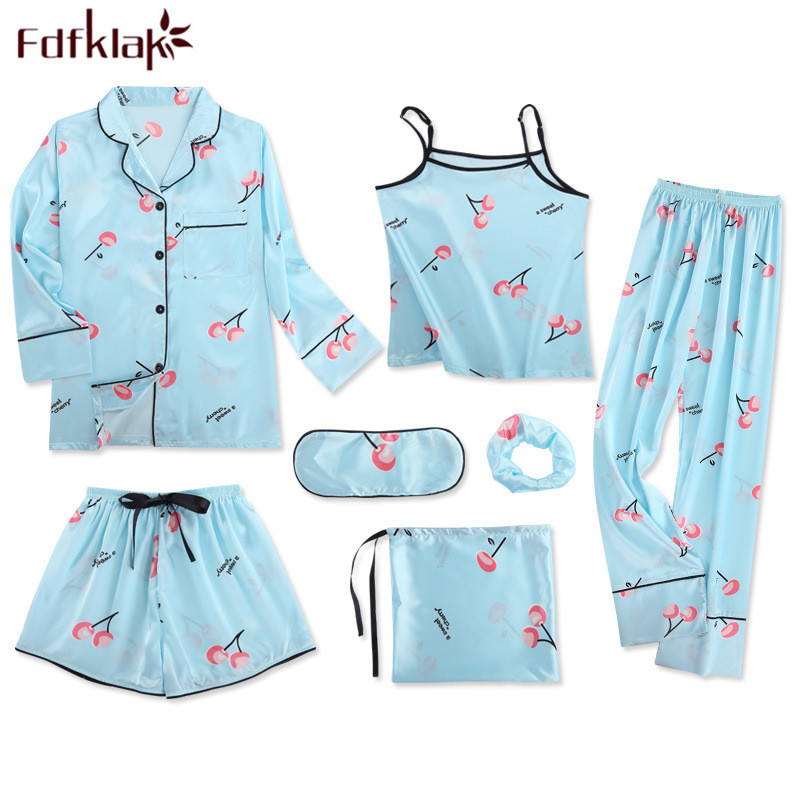 7 pieces pyjamas women print silk satin sleepwear pijama   set   spring autumn home clothes sexy women's tracksuits   pajamas     sets