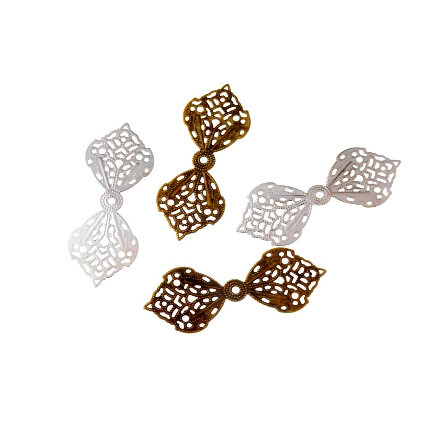 Free Shipping 10Pcs Filigree Bow Wraps Connectors Metal Crafts Decoration DIY Findings Connectors 62x24mm