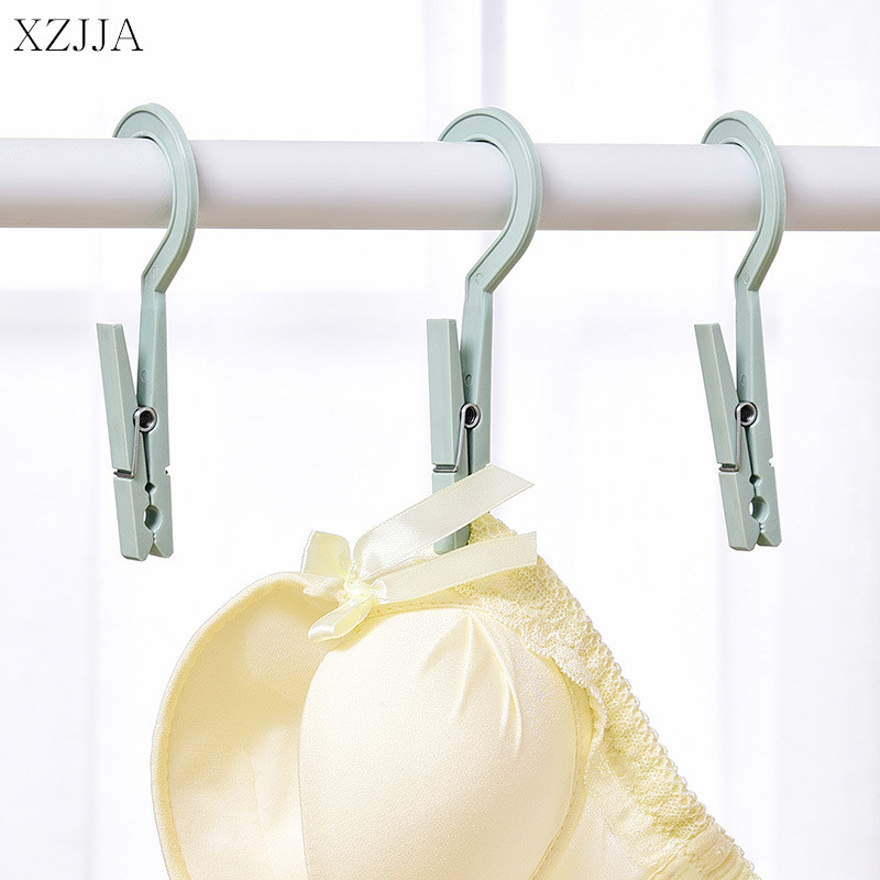 XZJJA 6Pcs Plastic Clothes Pegs Travel Portable Hanging Hook Clothes Pin Clips Household Clothespins Socks Underwear Drying Rack
