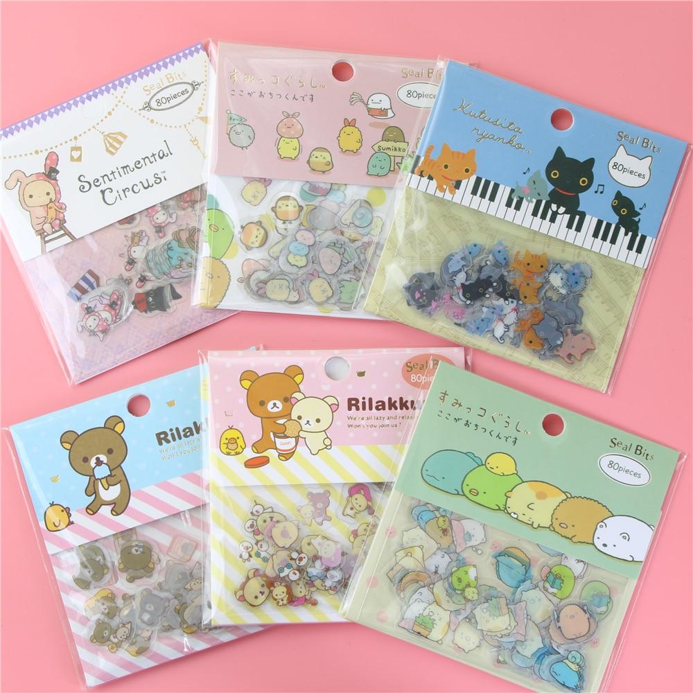 80 Pcs/lot(1 Bag) DIY Cute Cartoon Kawaii PVC Stickers Lovely Cat Bear Sticker For Diary Decoration Note Sticker Flakes
