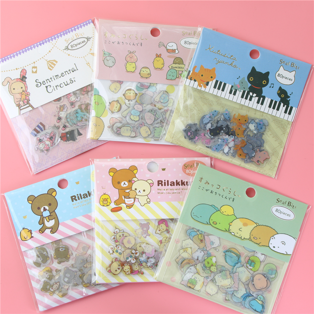 80 pcs/lot(1 bag) DIY Cute Cartoon Kawaii PVC Stickers Lovely Cat Bear Sticker For Diary Decoration Note Sticker Flakes image