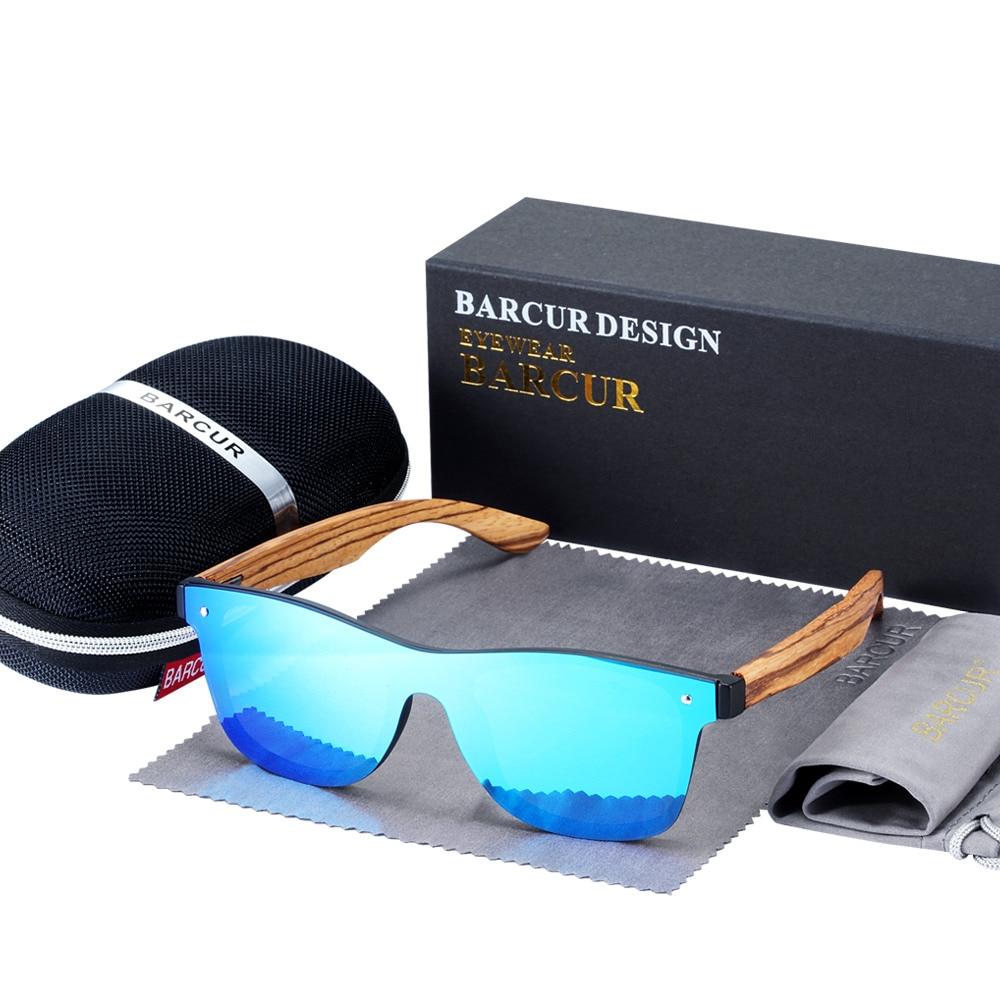 BARCUR Luxury Vintage Sun Shade Men Wooden Sunglasses UV400 Protection Fashion Square Sun glasses Women 8