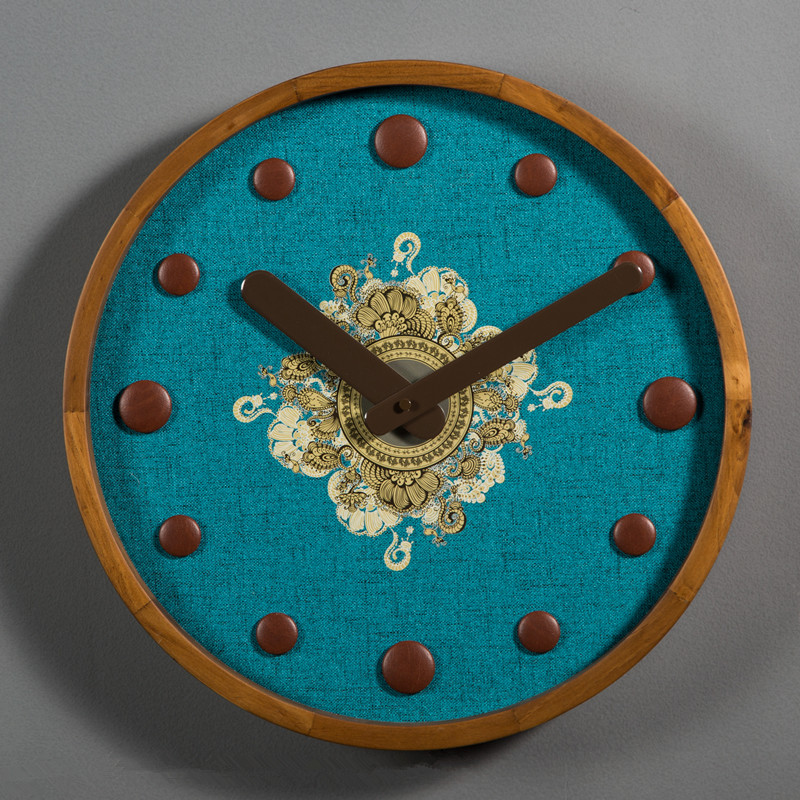 Non-tissé numérique montre plaque bureau Vintage Art décoration horloge murale créative en bois paon bleu aiguille Quartz horloges murales