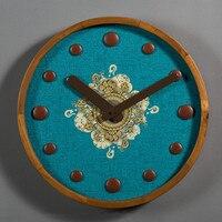 Non woven Digital Watch Plate Office Vintage Art Decoration Wall Clock Creative Wooden Peacock Blue Needle Quartz Wall Clocks