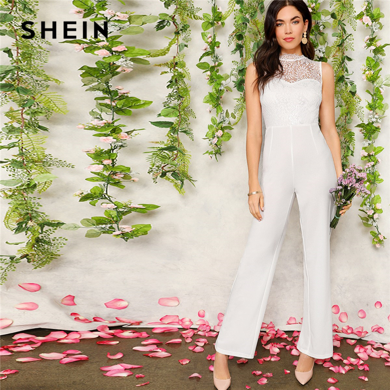 SHEIN White Lace Bodice Tailored Straight Leg Women Solid Jumpsuit Summer Office Lady High Waist Sleeveless Elegant Jumpsuits