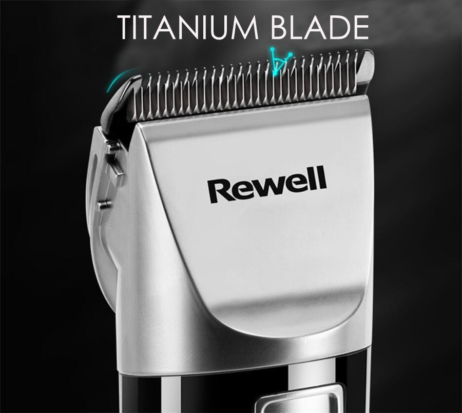 Image 2 - Rewell Professional Hair Clipper Rechargeable Hair Trimmer 2500mA Lithium battery Titanium alloy Blade Cutter Turbo for Barber-in Hair Trimmers from Home Appliances