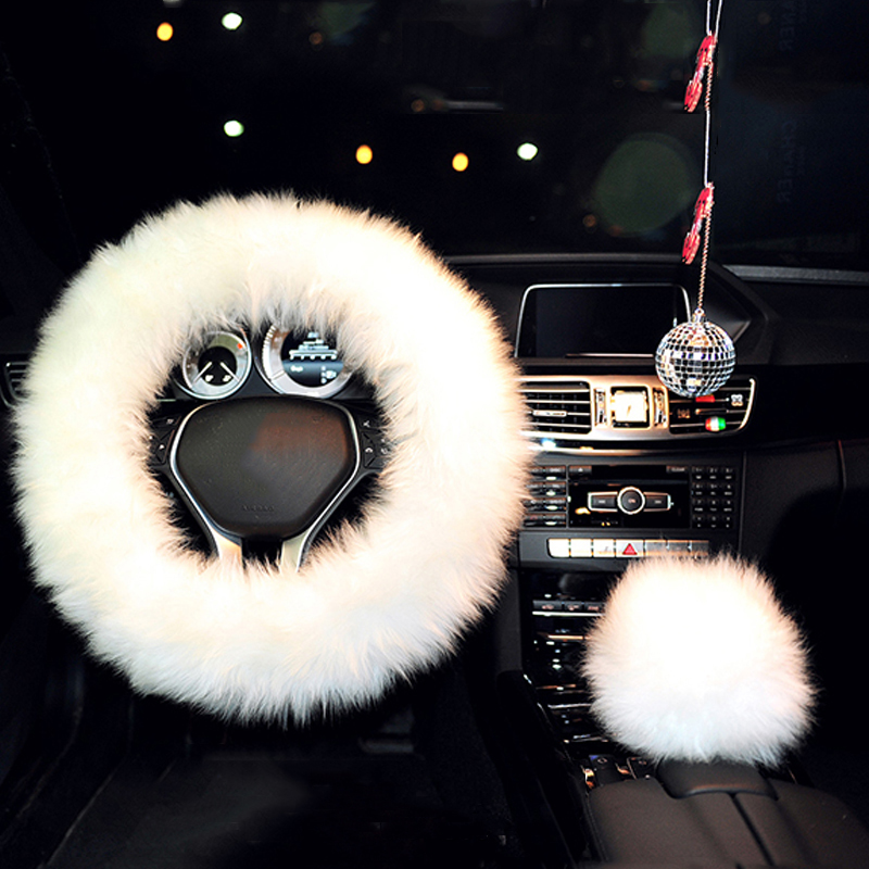 100% Woolen Sheep Fur Plush Shift Knob Cover