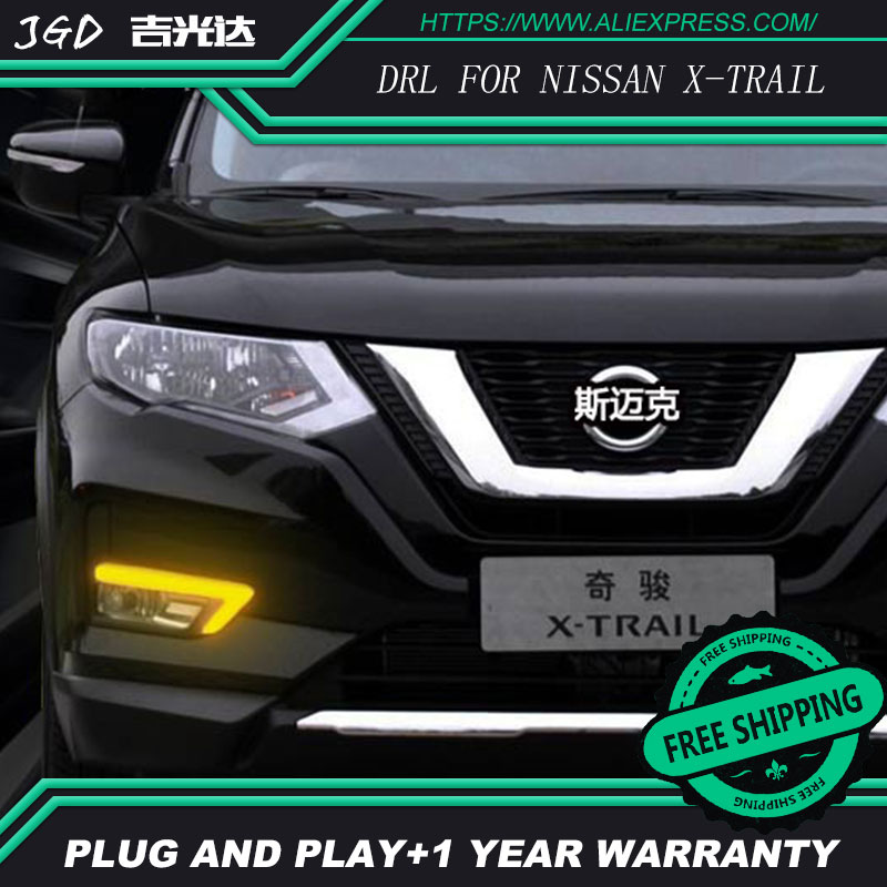 Case For Nissan X-trail X trail Xtrail 2016 2017 Daylight Car LED DRL Daytime Running Lights with turn signal Fog Lamp цена