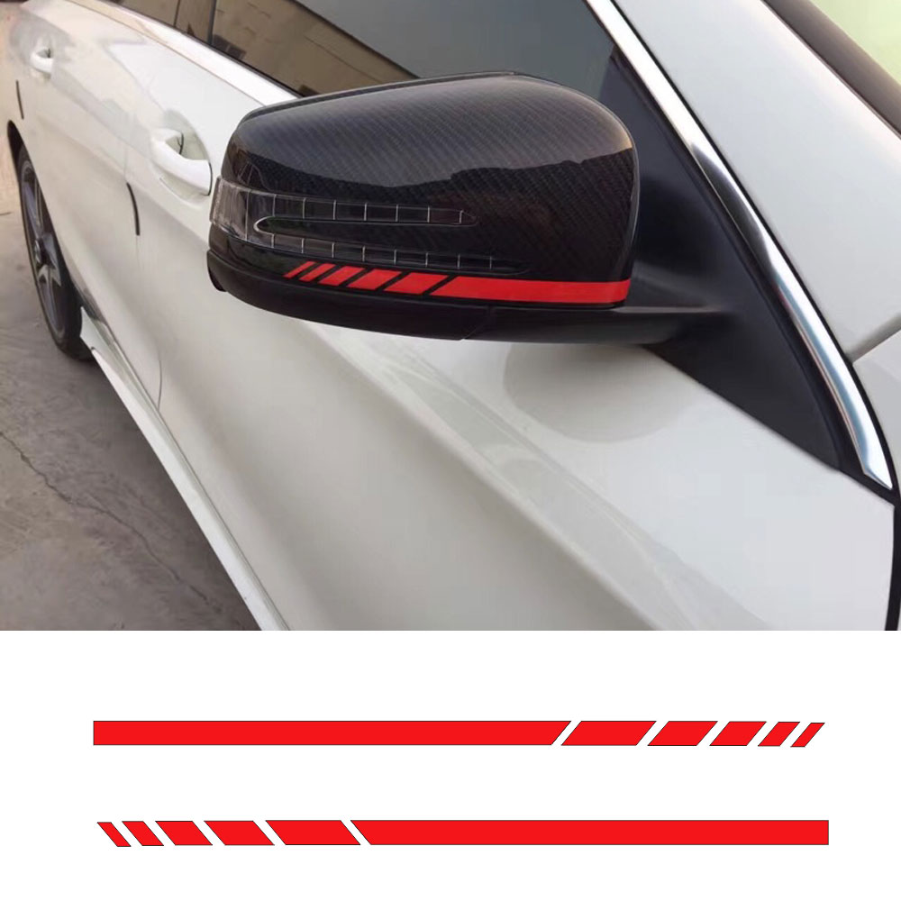 A Pair 8.8 Side Rear View Mirror Stripes Vinyl Decal Car Sticker for Mercedes Benz W204 W212 W117 W176 Edition 1 AMG Style mirror cover mirror housing with blinker lamp for mercedes benz w204c160 c180 c200 c220 c230 c240 c270 c280 c320 c350 2128100864