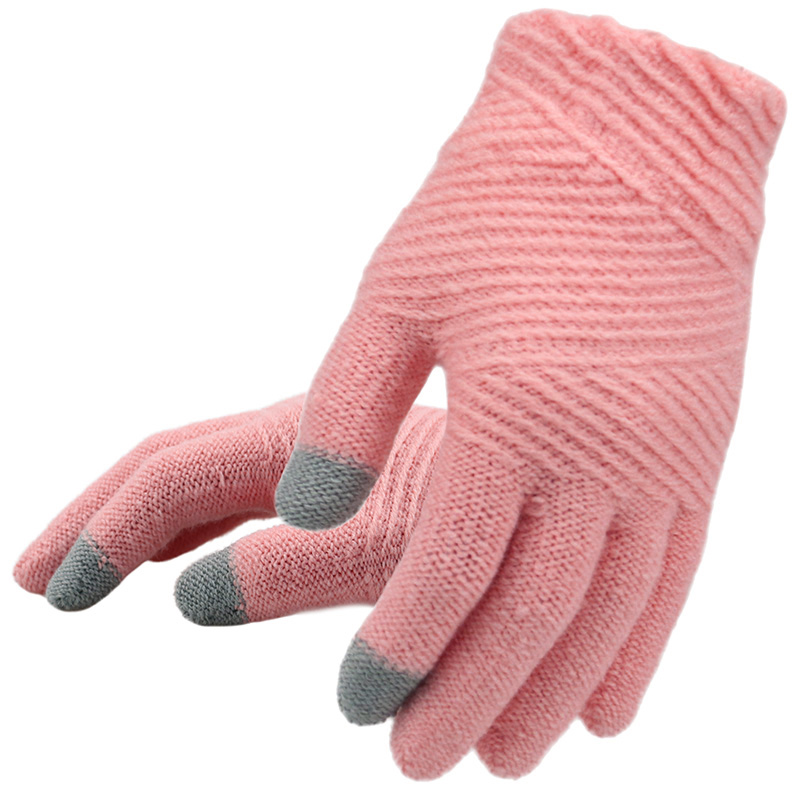 Women Knitted Gloves Female Keep Warm Touch Screen Mittens Fashion Outdoor Stripe Full Finger Knit Gloves