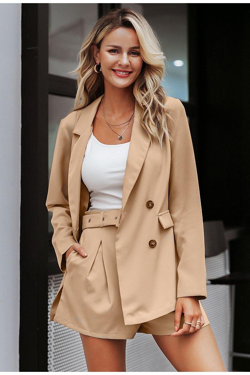 Simplee Elegant two-pieces women short suit Casual streetwear suits female blazer sets Chic 19 office ladies women blazer suit 5