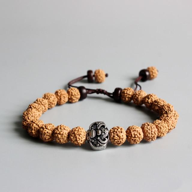Tibetan Buddhism Rudraksha Seed Om Mala Beads Vintage Bat Amulet Charm Men S Bracelet Natural Wood Beaded