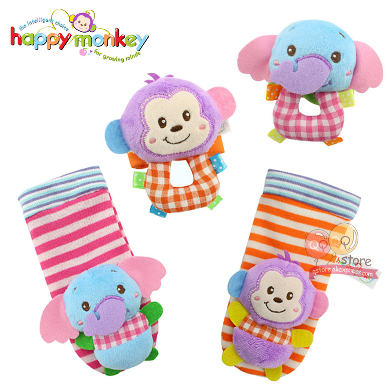 Happy Monkey Wrist And Socks Rattle Foot Finder Set Baby Lovely Animal Bebe Infant Educational Toys Christmas Gift For Children Baby & Toddler Toys