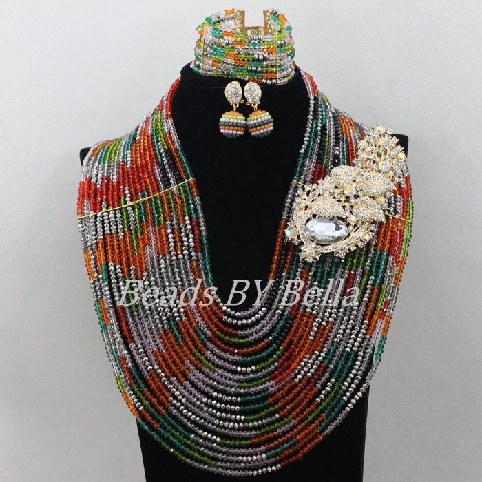 Здесь продается  Chunky New Nigerian Wedding African Beads Jewelry Set Multicolor Crystal Beads Necklace Bridal Jewelry Sets Free Shipping ABF615  Ювелирные изделия и часы