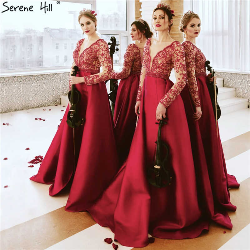9e2c09075f3 ... Rose Red Long Sleeves Mermaid Satin Evening Dresses Pearls Beading  Deep-V Sexy Fashion Evening ...