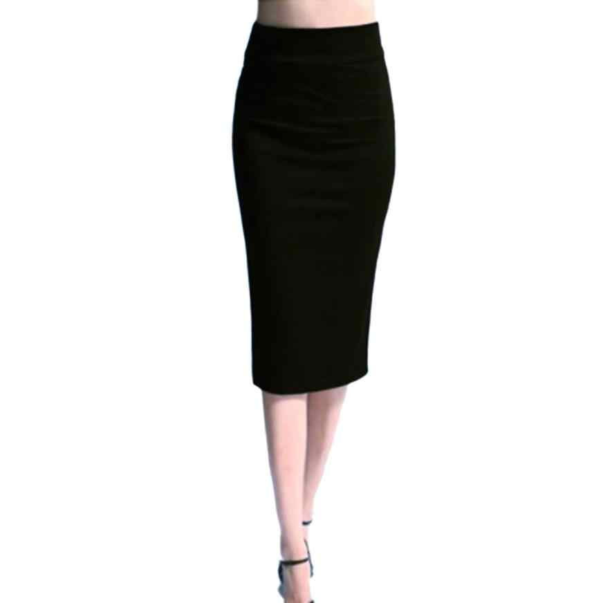 4 2018 Women Solid High Waist Skinny Stretchy Skinny Slim Knee-Length Pencil  Skirts 1e70f36c96af