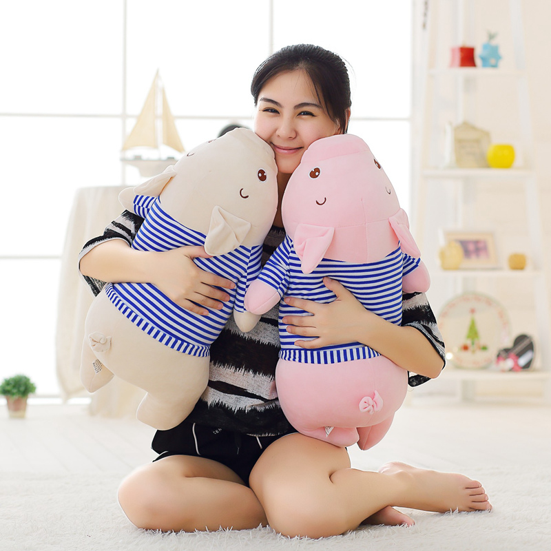 1pc 60cm Kawaii Pig Plush Toy Stuffed Soft Animal Doll for Kids Baby Lying Pig with Clothes Plush Pillow Cute Children's Gift 50cm cute plush toy kawaii plush rabbit baby toy baby pillow rabbit doll soft children sleeping doll best children birthday gift
