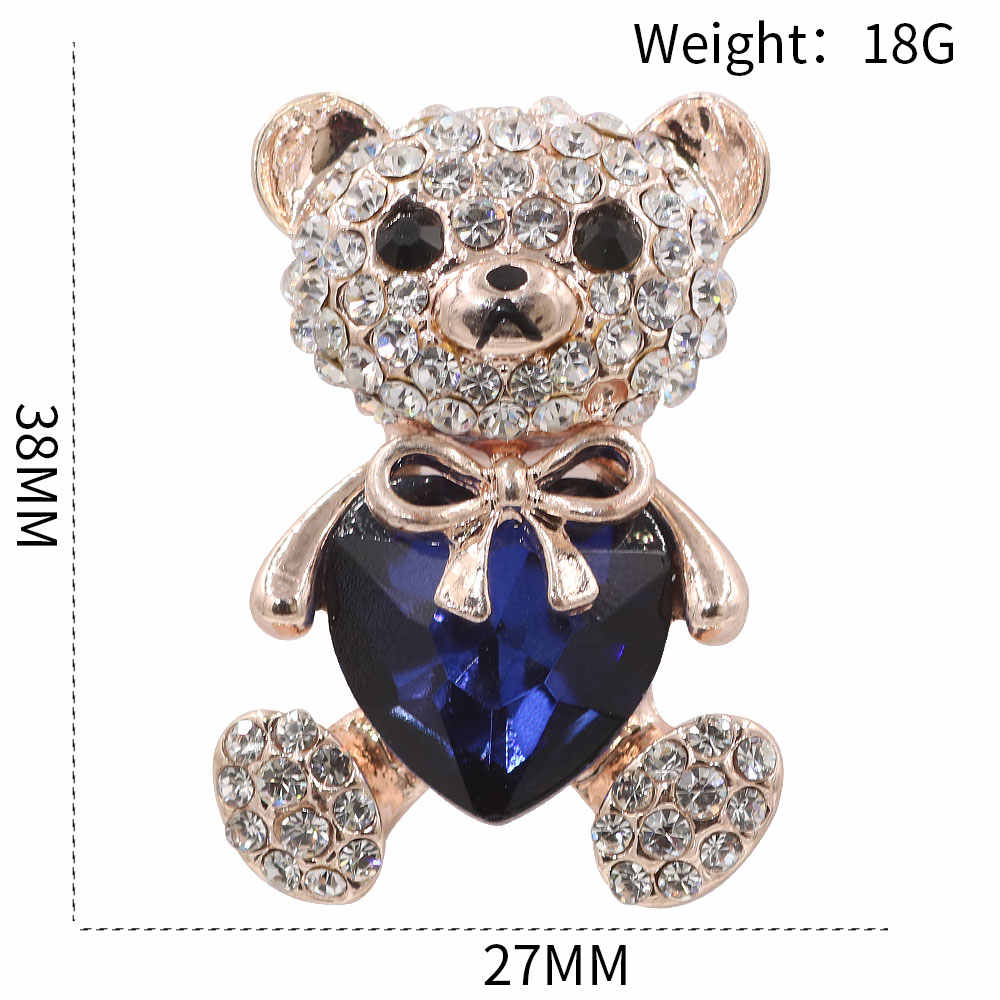 PULATU Biru Pecinta Jantung Kristal Beruang Bros Wanita Hadiah Fashion Aksesoris Kartun Desain Mantel Bros Perempuan Pin Bros
