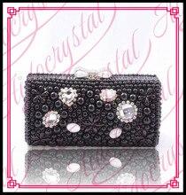 Aidocrystal schwarz perle Abendtasche Clutch Dame Hochzeit Geldbörse Strass Hochzeit Handtaschen