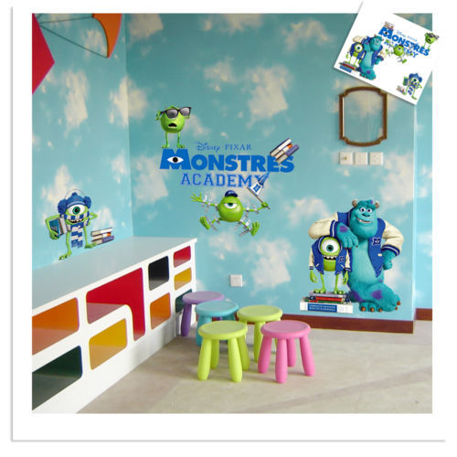 FULL COLOUR MONSTERS INC UNIVERSITY WALL ART STICKER DECAL GRAPHIC ...