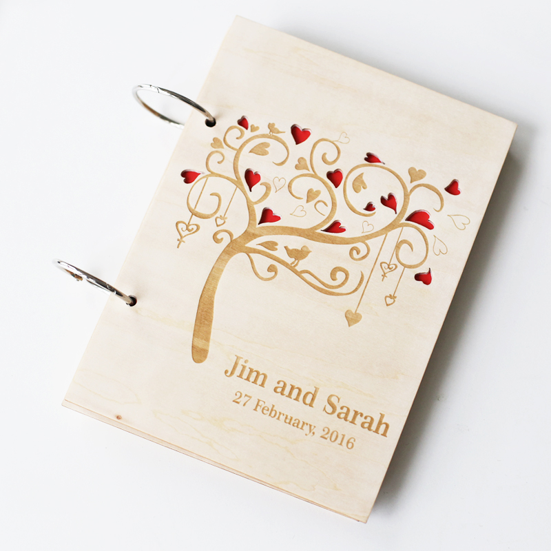 Cute Wedding Guest Book Ideas: Personalized Wedding Guestbook Rustic Photo Album For