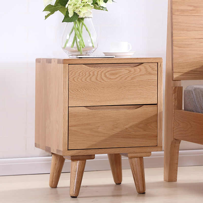 Louis Fashion Coffee Tables Solid Wood Bedside Cabinet White Oak Log Storage Bedroom Bucket Cabinet Storage