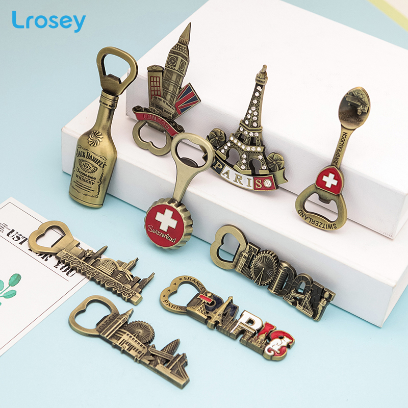 3D Bottle Opener Fridge Magnets England London Swiss metal Refrigerator Magnets Home Decor French Tower European Message holder