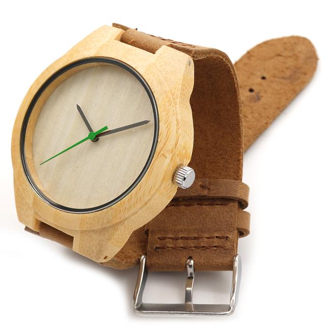 BOBO de AVES 2016 hombres del Diseñador de Moda Reloj Reloj Con Correa de Cuero Real de Madera de Bambú Natural Y El Movimiento Japonés