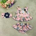 Macacão de bebê Meninas Roupas Infantis Bonito Floral Rendas Romper de Manga Curta Bebê Recém-nascido 3 Peças/set Roupas de Bebê