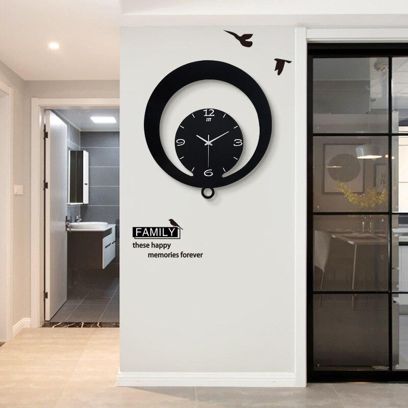 2019 nouveauté Simple nordique salon horloges moderne chambre créative Swing décoratif horloges murales
