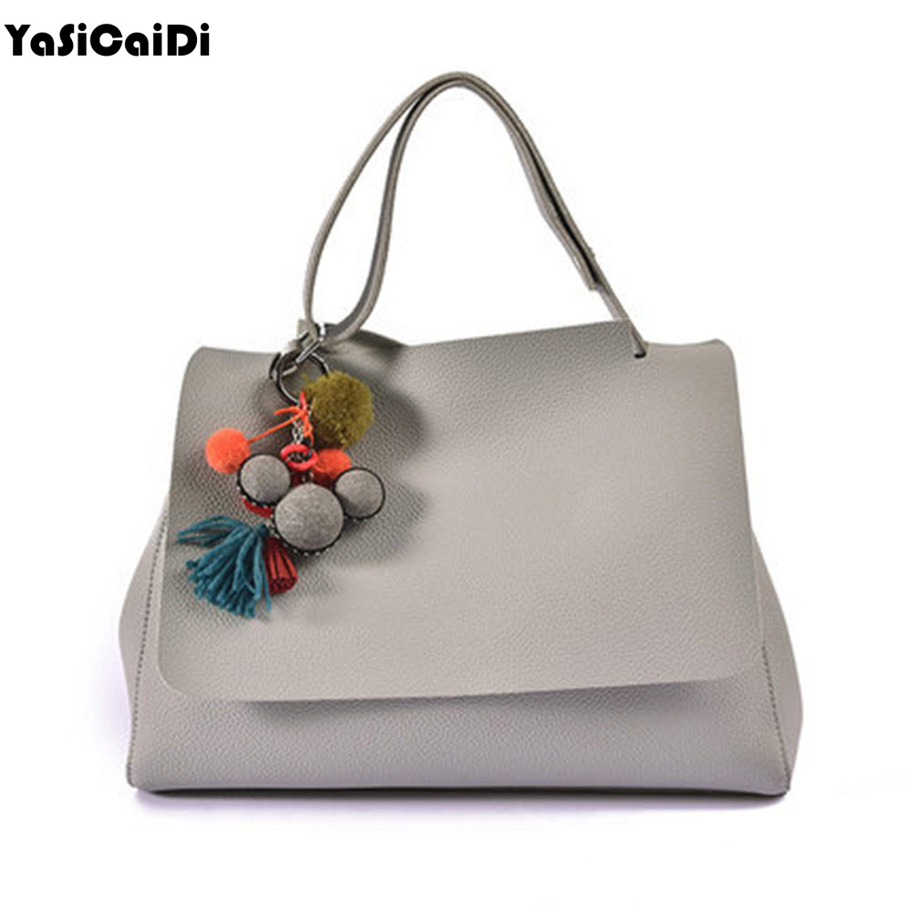 Fashion PU L eather Tassel Women's HandBags Pendant Large Capacity Woman Shoulder Bag Luxury Ladies Bags Sac Bolsos Mujer 2016