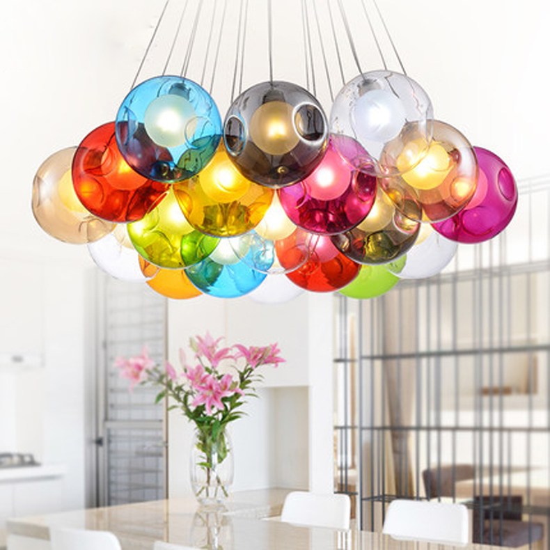 Modern glass ball pendant light g4 blub for bedroom dining living modern glass ball pendant light g4 blub for bedroom dining living room hotelac110 240v multicolor glass pendant light in pendant lights from lights mozeypictures Choice Image