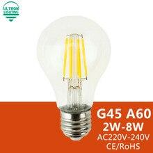 LED Bulb E27 E14 Filament Light Glass Bulb G45 A60 220V 240V 2W 4W 6W 8W Lamp Antique Retro Vintage Led Edison Lamp