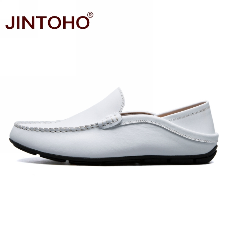 JINTOHO big size 35-47 slip on casual men loafers spring and autumn mens moccasins shoes genuine leather men's flats shoes 3