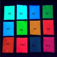12 цветов Блеск для ногтей порошок 10 г/пакет флуоресцентный пигментный эффект светится в темноте порошок CFPB16