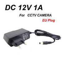 EU Plug AC/DC Power adapter charger Power Adapter for CCTV Camera AC 100-240V DC 12V 1A (2.1mm * 5.5mm)