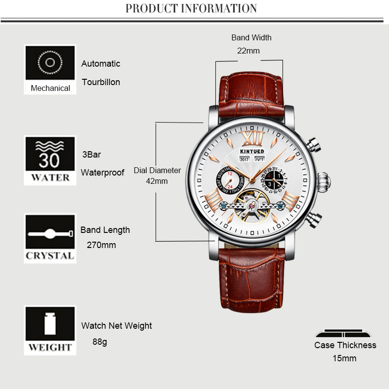 KINYUED Relogio Masculino Perpetual Calendar Tourbillon Mechanical Watch Men Rose Gold Leather Self-Wind Automatic Mens Watches