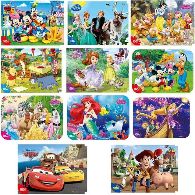 Puzzle de canard Disney, Mickey, Minnie Mouse, la sirène, jouets en bois intéressant, apprentissage, 100 pièces
