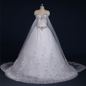 Image 2 - 2020 New Luxury Big Train Wedding Dress Sexy Crystals Beaded Bridal Gown Custom made Plus Size Wedding Gown