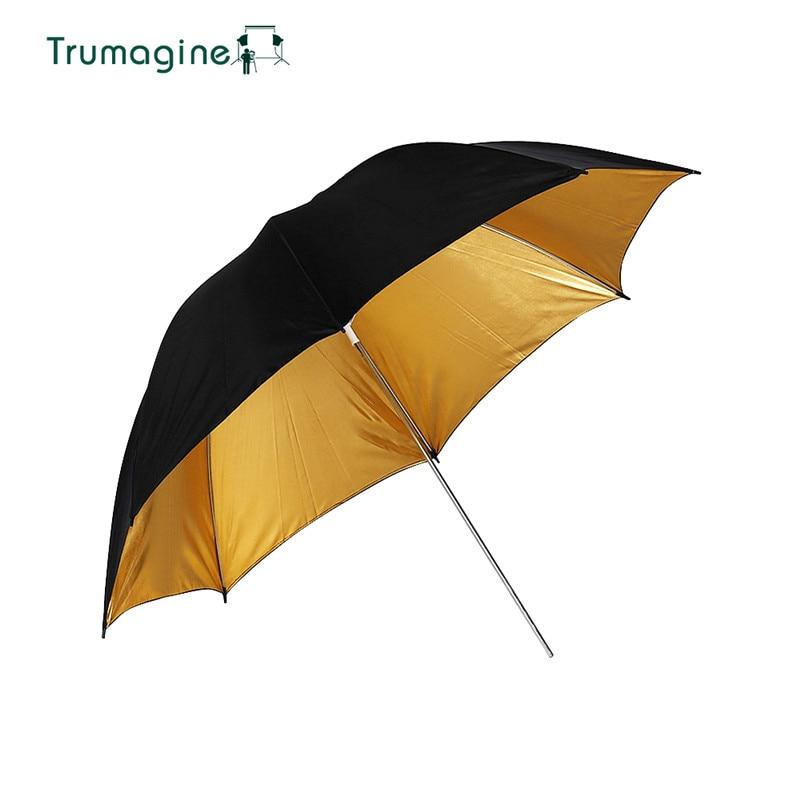 """TRUMAGINE Durable caméra 33 """"83 CM Photo Studio Flash doux parapluie noir or couleur photographie accessoires"""