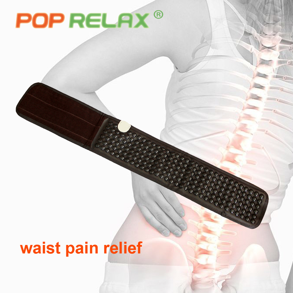 все цены на POP RELAX health tourmaline waist belt far infrared thermal electric heated physiotherapy germanium stone waist massage mat belt