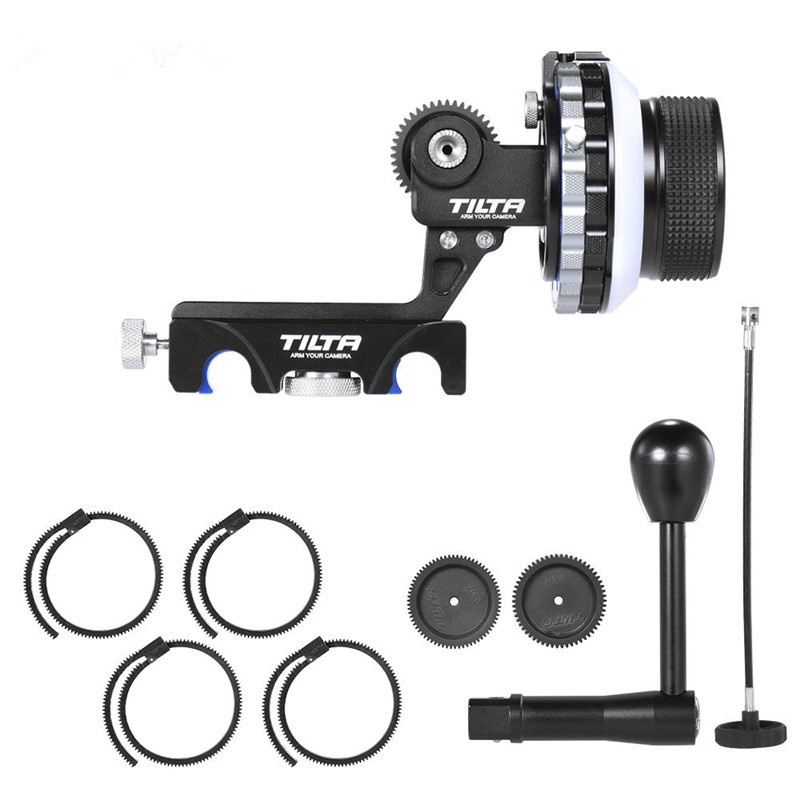 Tilta 3 FF-T03 DSLR Follow Focus Kit Hard stop 15mm/19mm Rod clamp + Crank handle + 40mm whip for 5D2/5D3/D800 professional 45cm follow focus assist handle whip for slr camera black