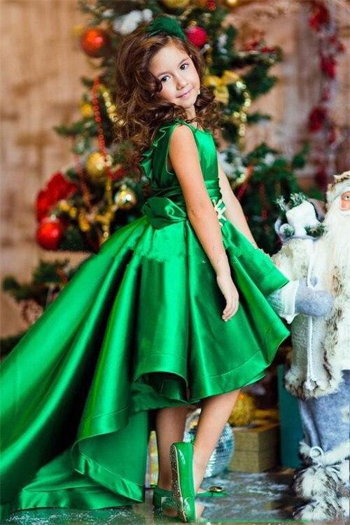 Emerald Green Girls Pageant Dresses High Low Princess Flower Girls Dresses For Weddings Lovely Kids 2017 First Communion Dresses emerald