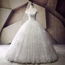 Real Princess Wedding Dresses Vestido de noiva 2017 Boat Neck Vintage Lace Bridal Gowns Off The Shoulder Lace Up Floor Length
