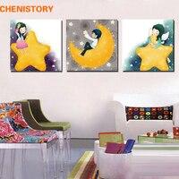Unframed 3 unidades Cartoon Girl Moon Star impresión moderna pared arte cuadro lienzo pared decorativa para la pared del sitio del cabrito regalo único