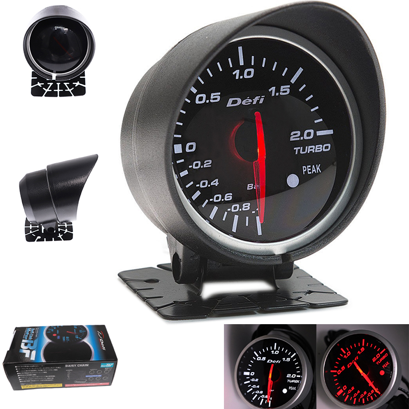 Universal Df Car Turbo Boost Gauge For Ford Mustang Tachometer Gauge Meter with Red White Light DF BF Racing Car Gauge