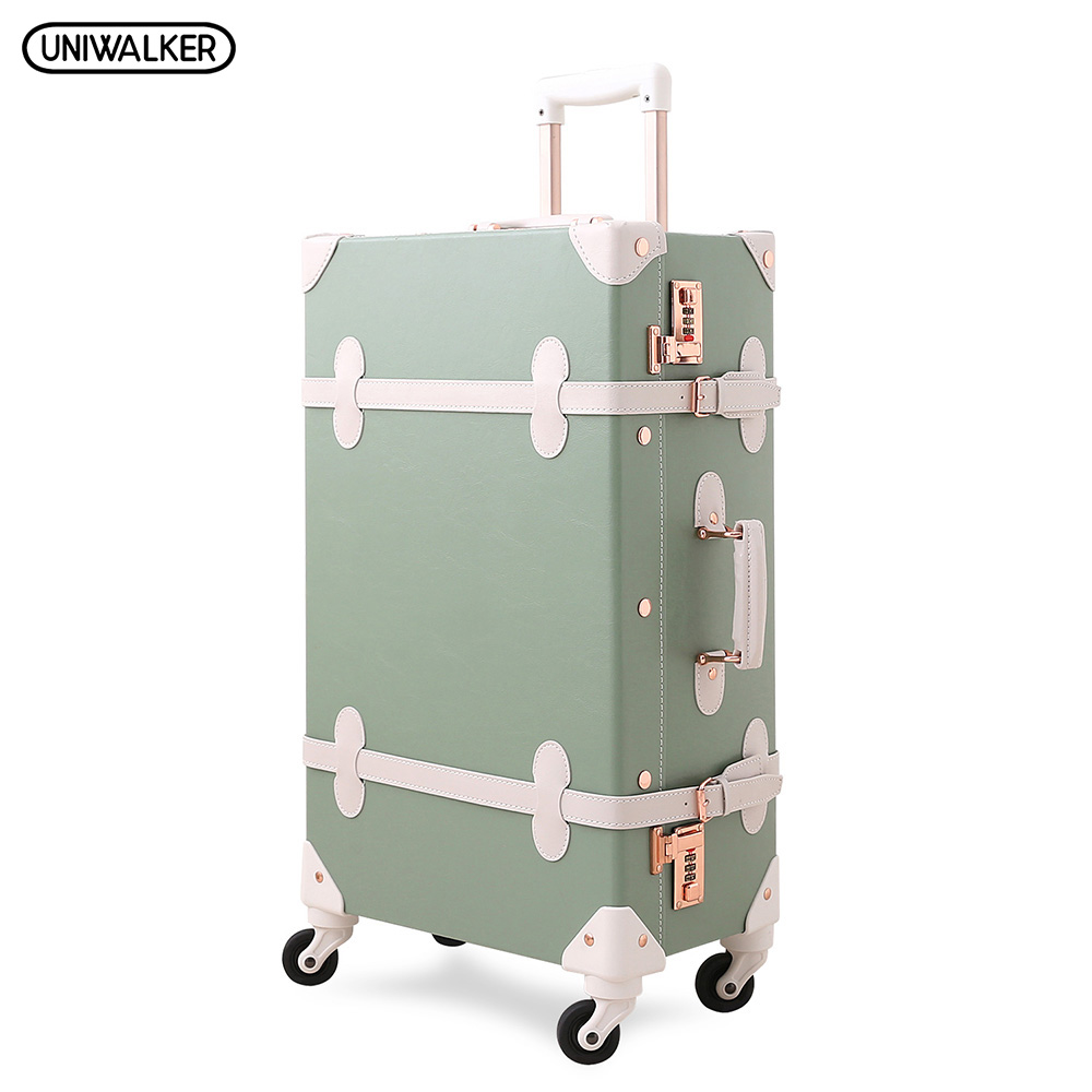UNIWALKER 20222426 Vintage Luggage,Password Lock Suitcase,Universal Wheels Trolley,PU Leather,Retro Rolling Luggage Bags