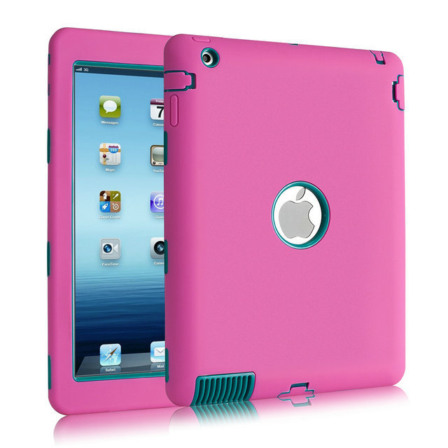 Top Quality Anti-Knock Shockproof Screen Protective 2 in 1 PC + Silicon Case for iPad4 iPad3 iPad2