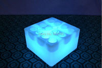 Waterproof 12 Holes Light Up LED Square Serving Tray Multi Colors Rechargeable Flashing LED fruit drinks Bars trays Holder light